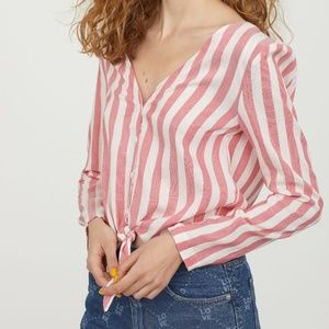 H&M Red White Striped Tie Front Blouse